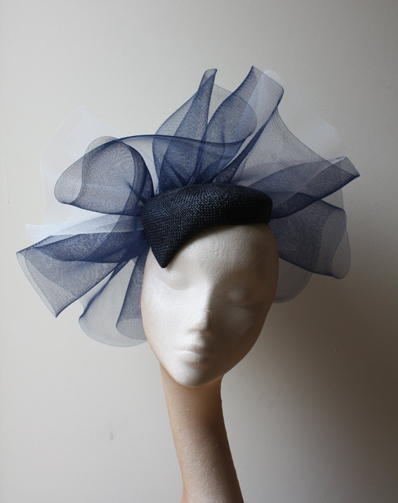 Mariage - Navy Straw beret with navy & ivory crin detail - Statement hat great for standing out at the races or a wedding, can be made in other colors
