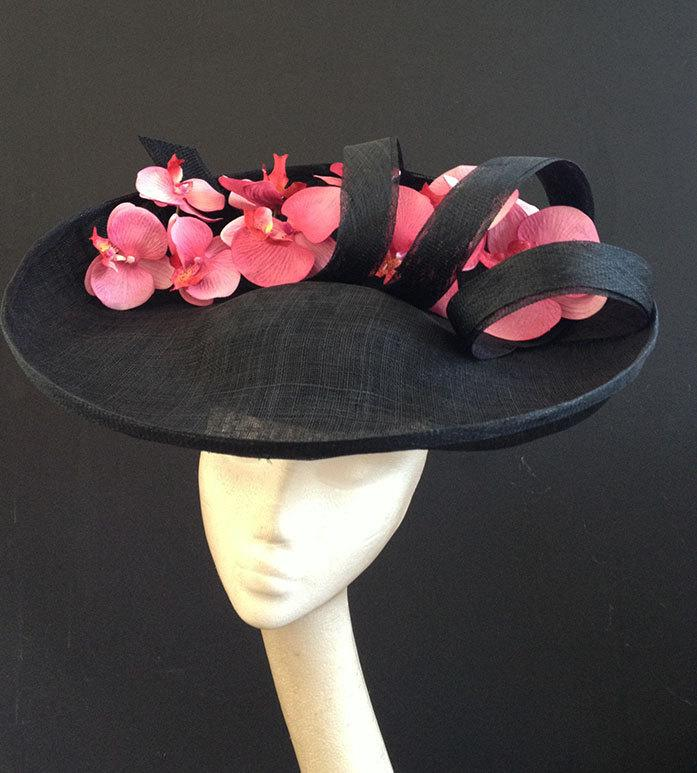 Mariage - Large Black Orchid Headpiece - Stunning hat make a statement at a wedding or the races, can be made in other colours