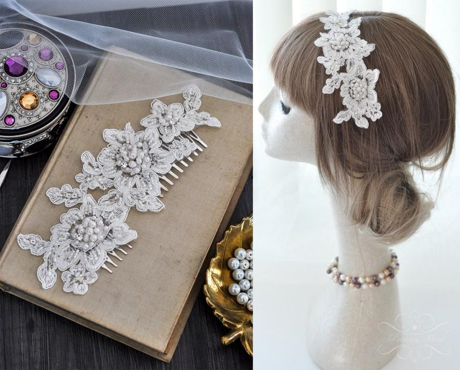 Mariage - Bridal Vintage Headpiece Lace Haircomb Lace Comb beaded with Pearls & Rhinestones in Ivory, Bohemian Head Piece, Wedding Lace Headpiece