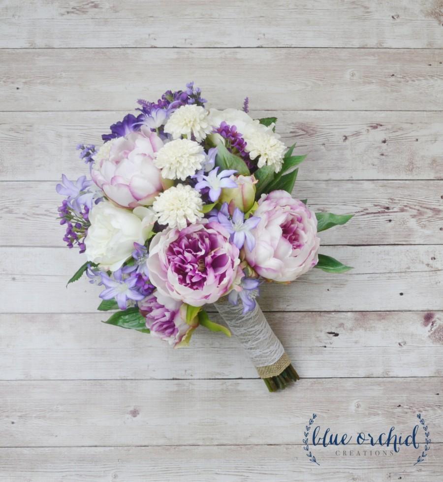 Wedding - Boho Bouquet - Boho, Peony Bouquet, Wildflower Bouquet, Lavender, Purple, Boho Chic Wedding, Beach Wedding, Wedding Flowers, Purple Bouquet