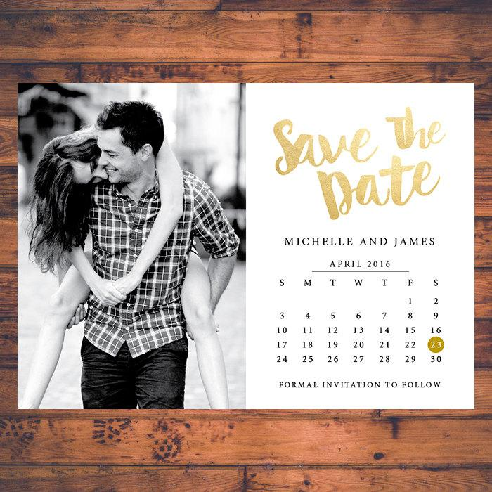 save the date invitation calendar save the dates faux gold invite