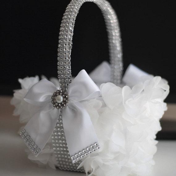 Hochzeit - White Wedding Flower Girl Basket with White bow and rhinestones White Wedding Basket  Silver wedding petals basket with Brooch