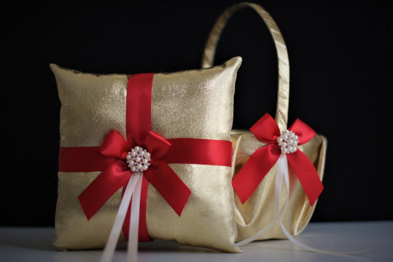 Red Gold Wedding Ring Bearer Pillow And Flower Girl Basket Set With Ceremony Accessories