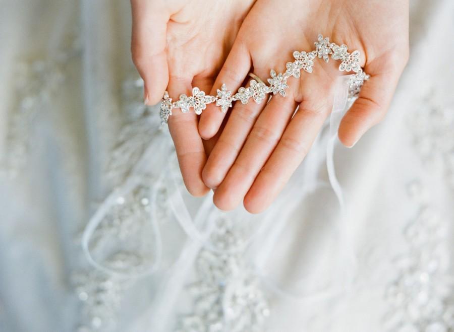 Mariage - Bridal Headband- FLORA, Thin Crystal Tiara Headband, Swarovski Crystal Bridal Ribbon Headband, Wedding Headband, Diamante Headband