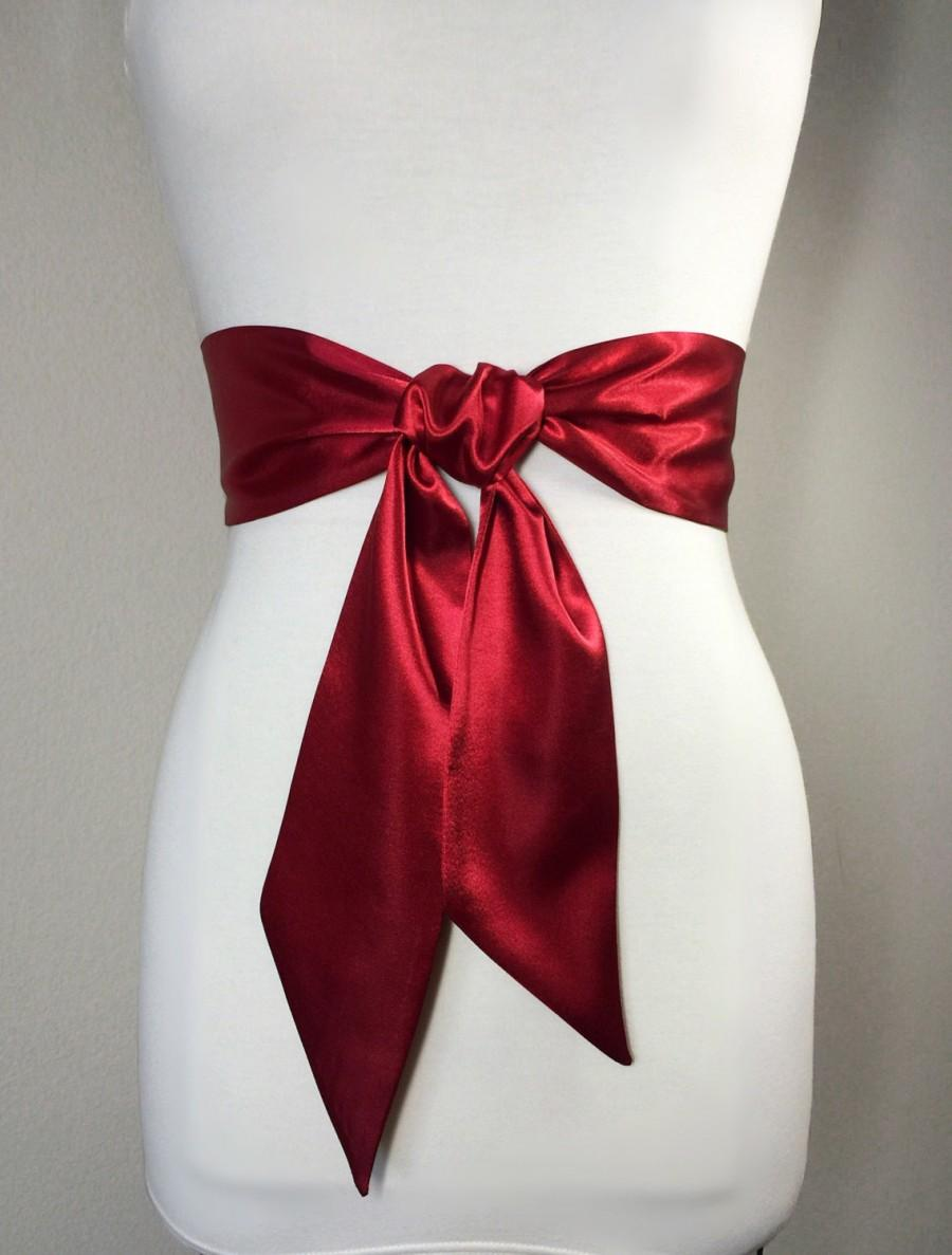 Mariage - Crimson Red Sash Belt, Dark Red Satin Sash, Waist Wrap Belt, Wedding Bridal Sash, Bridesmaid Sash, Scarf Belt, Satin Bow Belt, Satin Swank
