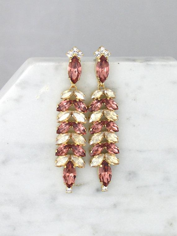 Blush Earrings Pink Long Bridal Dangle Chandelier Crystal Champagne Jewelry