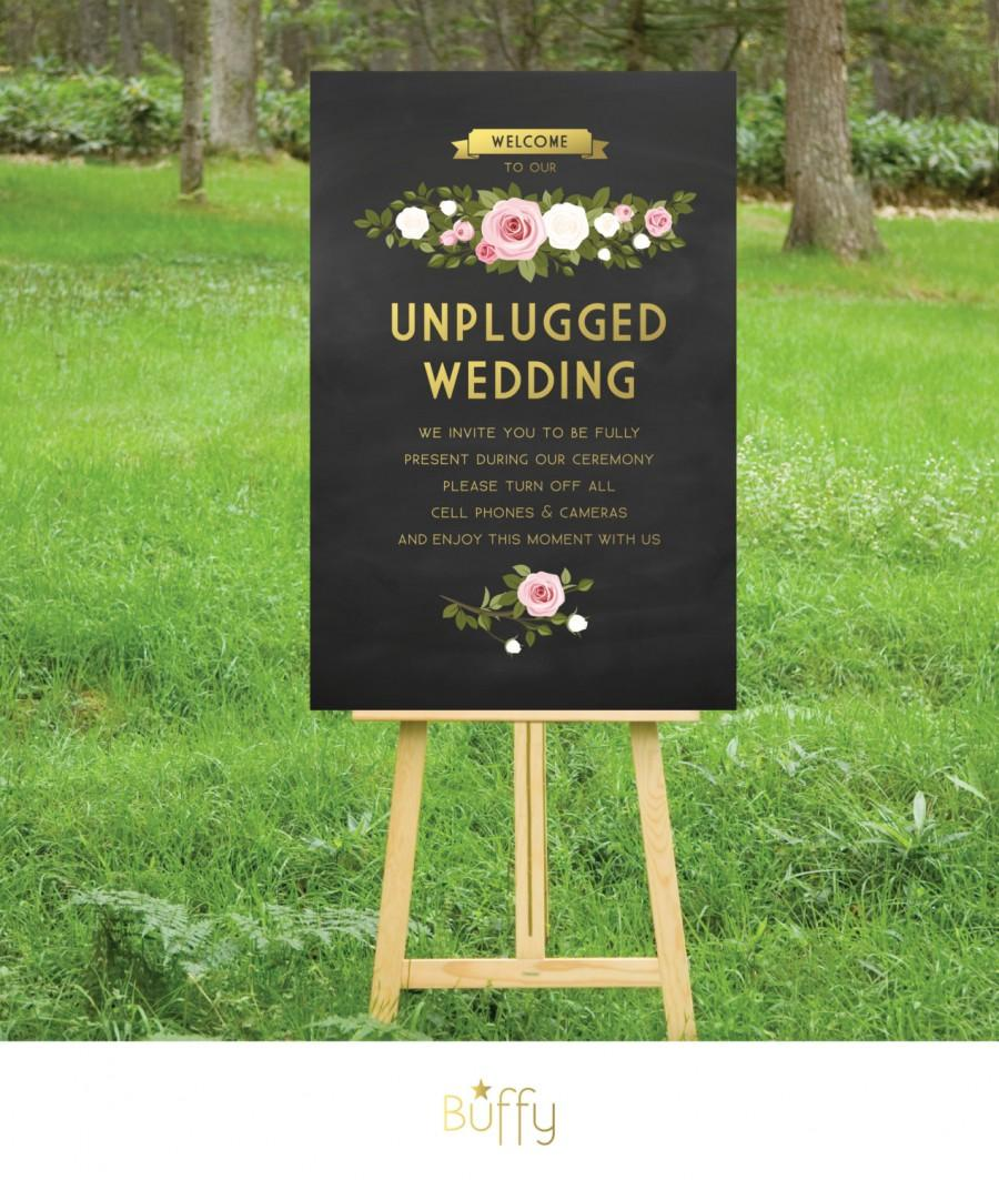 Mariage - The FRANKIE . Unplugged Wedding Ceremony Sign . PRINT or PDF, Shipping Included. Gold Chalkboard . White & Blush Pink Floral Roses