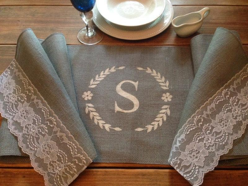 "Mariage - Grey Burlap Table Runner  12"", 14"", or 15"" wide Monogram with Lace - Wedding runner Holiday decorating Home decor Burlap & lace runner"
