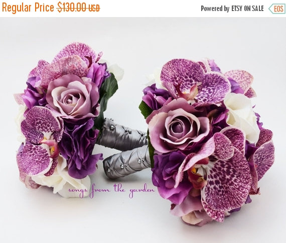 Mariage - Winter Sale Orchids Roses Hydrangea Wedding Flower Package Bridesmaid Bouquet Real Touch Roses Silk Roses Hydrangea Plum Purple Ivory