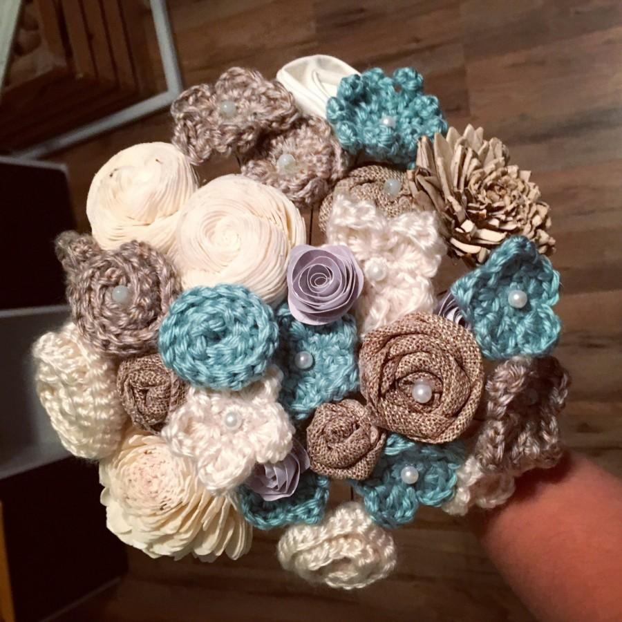 Blue wedding bouquet eco crochet flowers rehearsal bouquet blue wedding bouquet eco crochet flowers rehearsal bouquet reception bouquet alternative bouquet winter wedding beach wedding izmirmasajfo