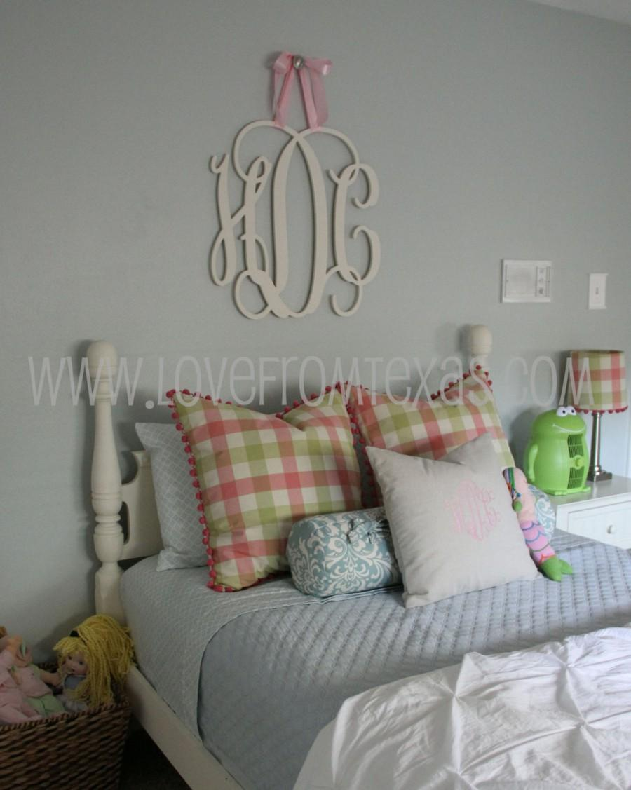 "Wood Monogram Wall Decor painted 26"" wood monogram initials, wall decor, hanging wooden"