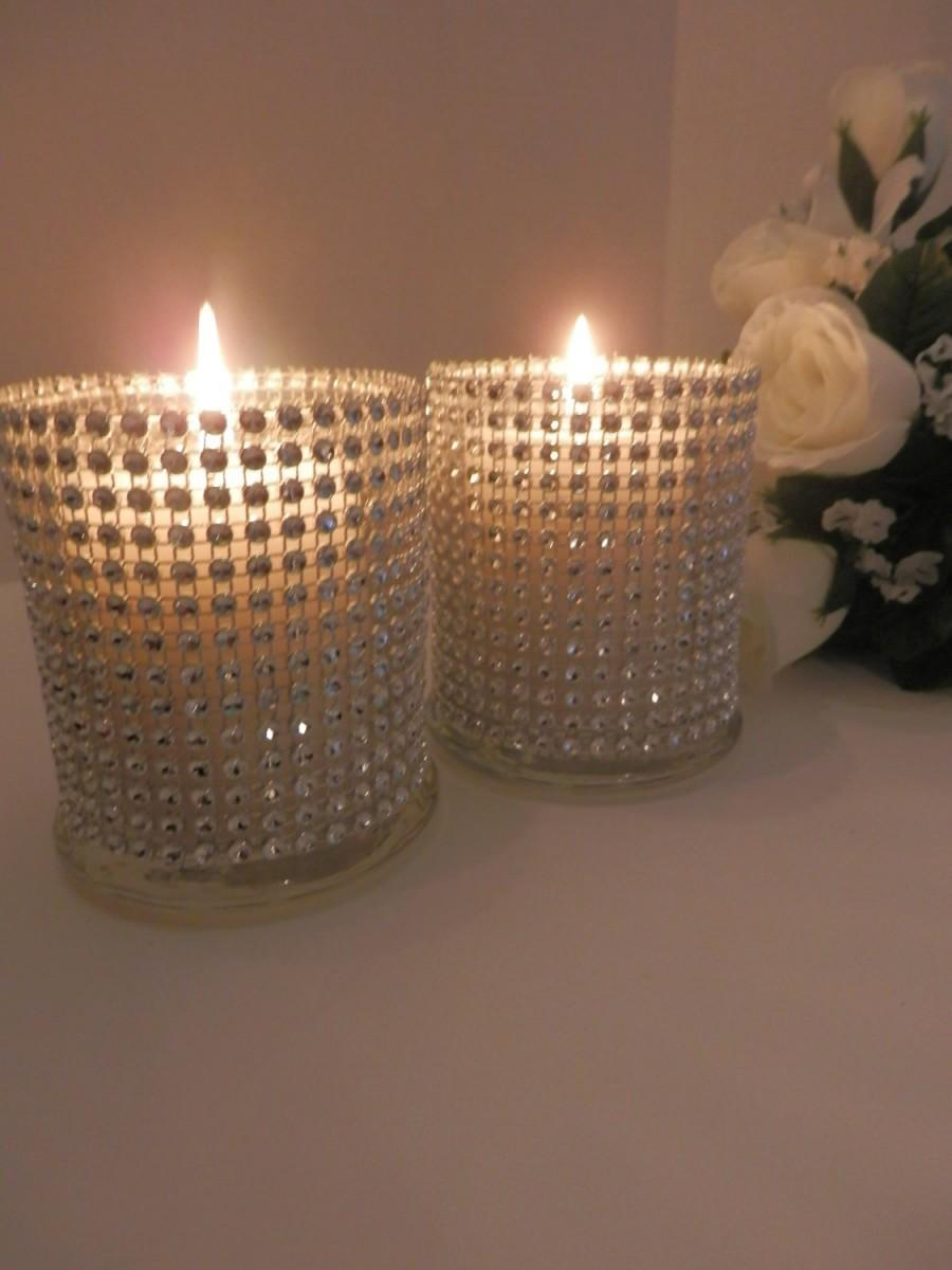 Mariage - 8 Wedding centerpiece, Rinestone glass candle holder, Christmas decorations, bling centerpiece,  wedding flower vase