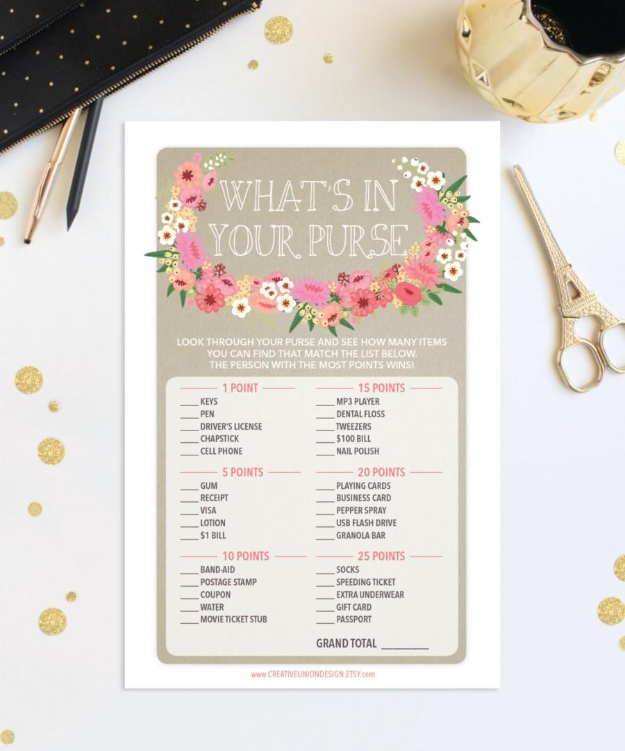 whats in your purse bridal shower game wedding shower game bridal shower diy shower game instant download