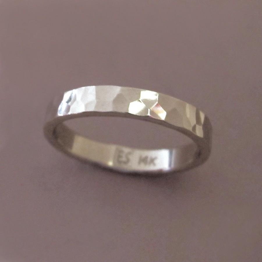 Wedding - Hand Hammered Wedding Ring in 14k Palladium White Gold  - Polished or Matte - Choose a Custom Width