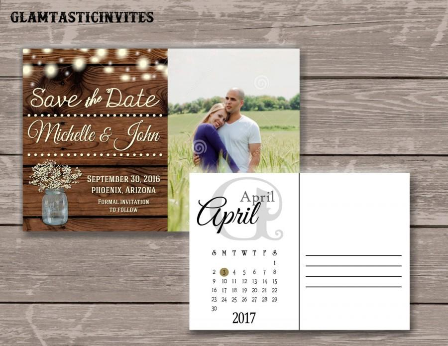 Wedding - Rustic Save-The-Dates, Printable Rustic Save the Date Postcard, Save the Date, Rustic Wedding, Postcard, Printable Save the Date, DIY, Mason