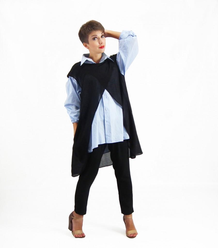 f38cc6f8364 Black Cardigan, Ladies Tunic Top, Plus Size Top, Long Cardigan with  Pockets, Wool Cardigan, Plus Size Tunic, Evening Shrug