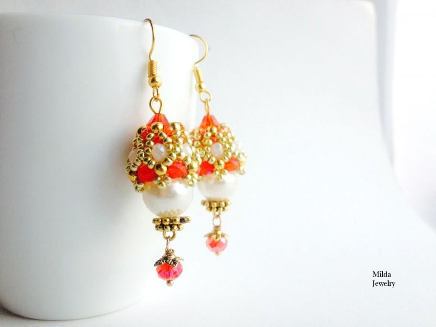 Dangle Drop Gl Bead Earrings In Red And White Ivory Seed Beaded For Her Beadwork Jewelry Handmade Cer Beads
