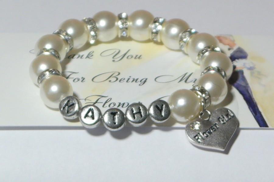 Свадьба - flower girl bracelet - flower girl gift - name bracelet - monogram - will you be my flower girl - custom flower girl - handmade bracelet