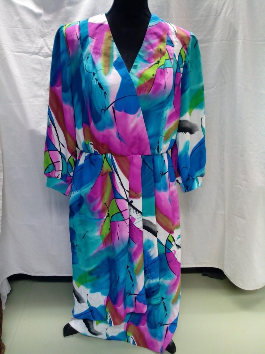 Mariage - Art dress,80 s vintage beauty, colorful dress/women/Size L/Handmade/boho,cottage chic,shabby chic/  bohemian