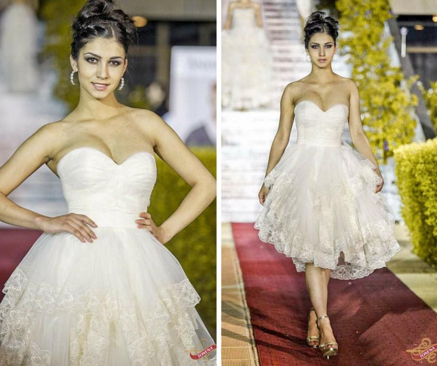 Mariage - Short Wedding Dress, Fairy Wedding Dress, Short Bridal Gown, Lace Short Gown, Short lace dress, Garden Wedding Dress, Country wedding dress