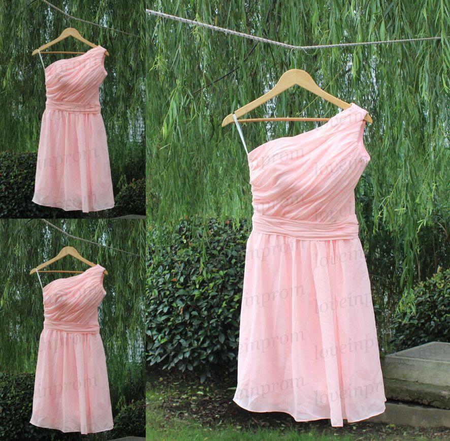 Mariage - Pink bridesmaid dress,handmade pleat chiffon wedding party dress,short bridal dress,prom dress