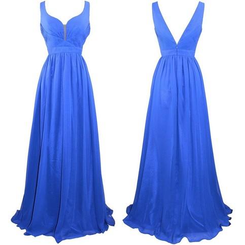 Mariage - Long Empire Chiffon Prom Dress -- Royal Blue A-Line Straps from Dressywomen