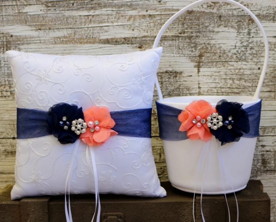 3b0ee0948e7aa Your Color , Wedding Flower Girl Basket and Ring Bearer Pillow Set ,Coral  Pink and Navy Blue Ring Bearer Pillow ,Wedding Pillow