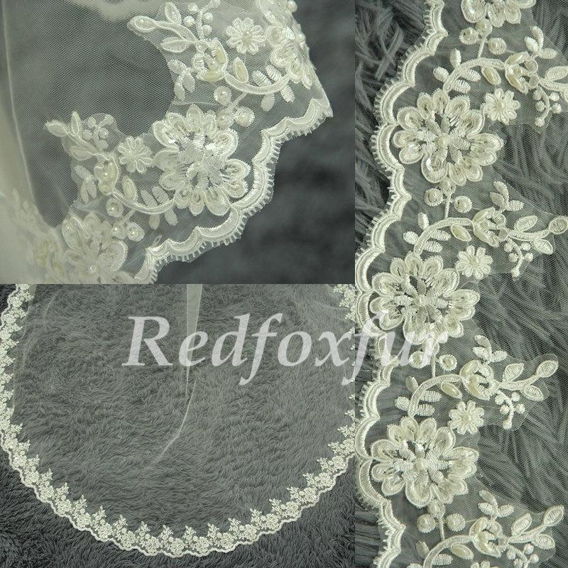 Свадьба - Lace cathedral veil, hand-beaded wedding veils, bridal veil, lace veil, chapel veil, elegant ivory veil, wedding headpiece