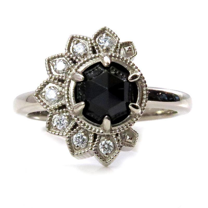 Свадьба - Diamond Eclipse Ring - 14k Palladium White Gold - White Diamond Crescent with Black Spinel or Black Diamond