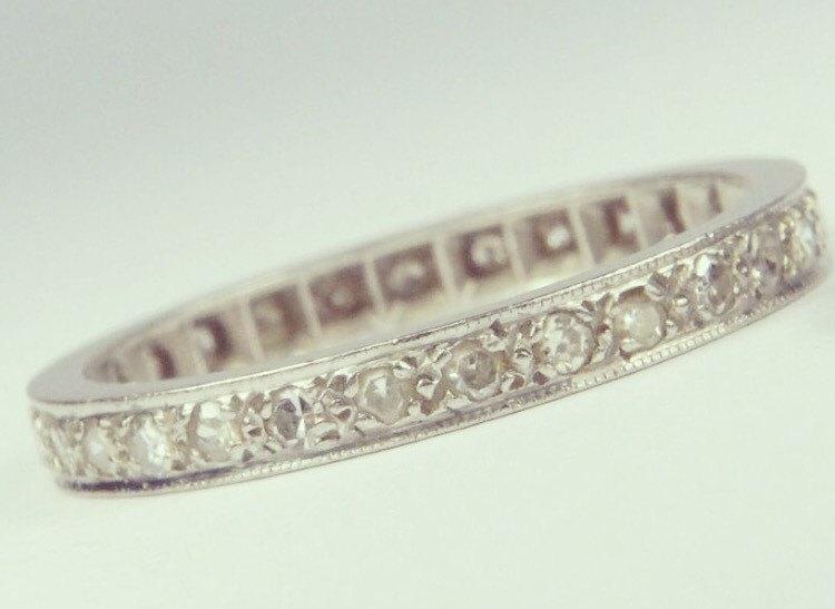 Свадьба - CHRISTMAS SALE Antique Art Deco Platinum Diamond Eternity Wedding band