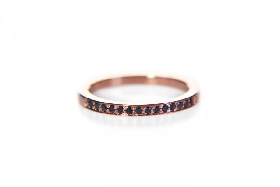 Свадьба - Rose gold black diamond eternity ring, 14k gold delicate thin pave band, anniversary stacking ring, modern wedding band