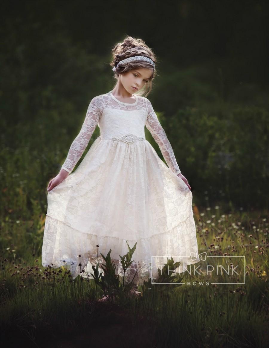 Mariage - flower girl dress, flower girl lace dresses, country lace dress, ivory lace dress cream, Rustic flower girl, girls lace dress, toddler dress