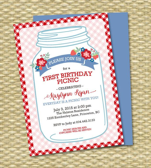 Wedding - First Birthday Picnic Invitation Rustic Mason Jar Strawberry Picnic Couples Shower Picnic Invitation Everyday is a picnic, ANY EVENT
