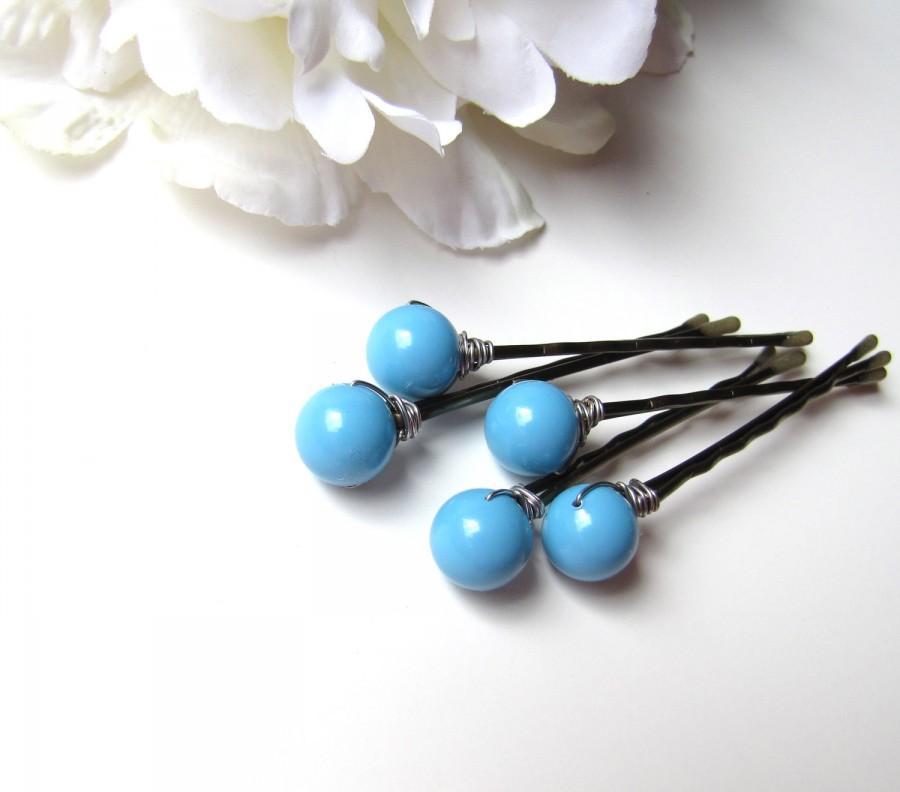 Mariage - Turquoise Bobby Pins, Bridesmaid Hair Pin Set, Something Blue Hair Pins