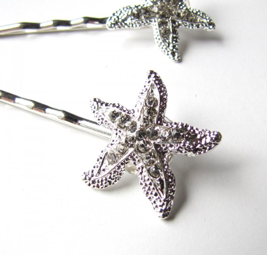 Mariage - Rhinestone Starfish Hair Clips Pins, Beach Wedding Silver Sparkle Bobby Pins Set of 2