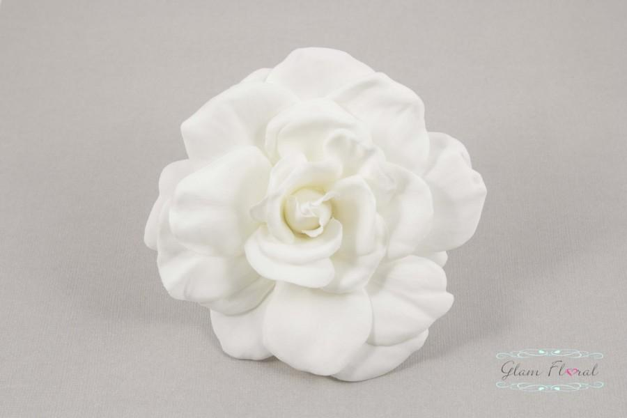Mariage - Real Touch Gardenia Hair Clip / Brooch / Corsage, Real Touch Gardenia Rose Fascinator in Natural Cream White