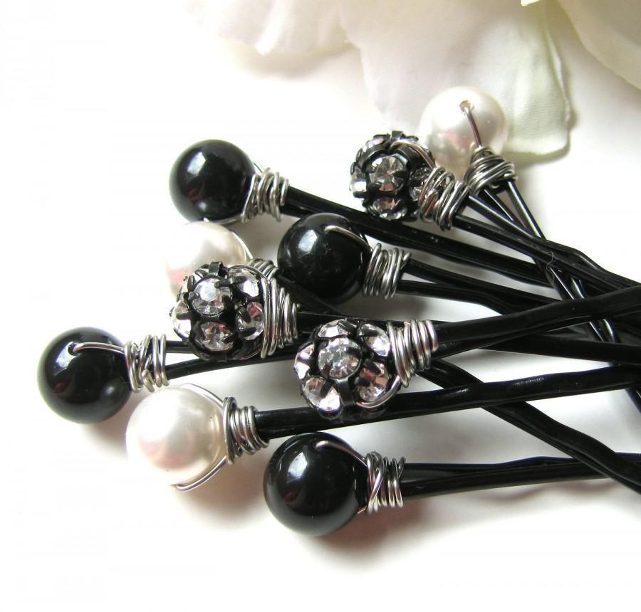 Mariage - Hair Pins Black White Pearls and Crystal Rhinestones