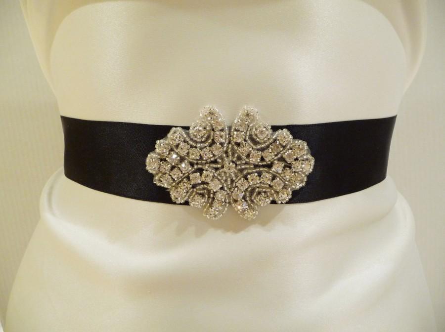 Mariage - Bridal Rhinestone Sash- Bridal Sash, Black Sash, Special Occasion, Rhinestone Sash