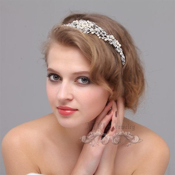 Hochzeit - Wedding Hair Accessories, Bridal HeadBand Hairband,  Rhinestone Ivory White Pearls Bridal Head Piece Hair Jewelry Hair Band