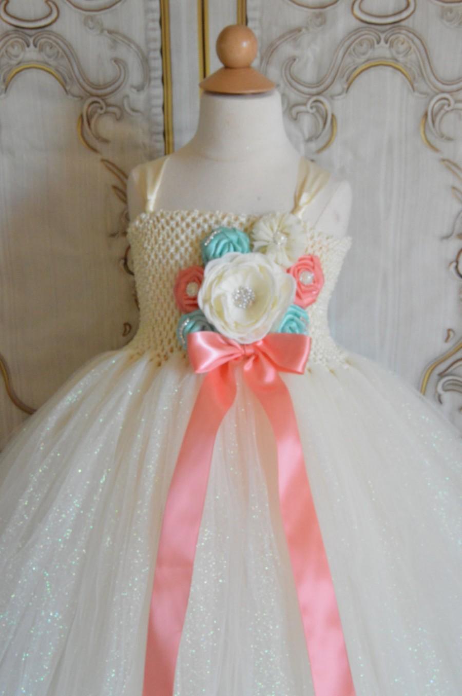 Свадьба - Glitter Ivory Coral and Aqua Flower girl tutu dress
