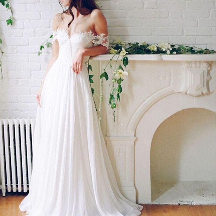 Свадьба - 2017 Popular Off Shoulder Long A-line White Chiffon Sexy Lace Wedding Dresses, WD0138