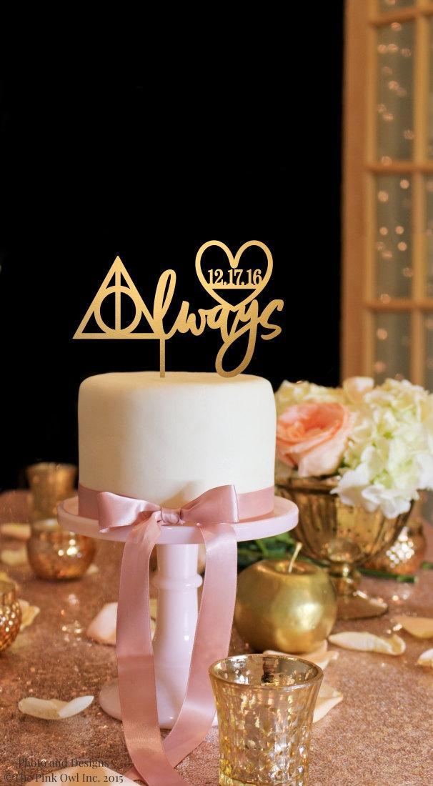 Hochzeit - Harry Potter Inspired Cake Topper with Wedding Date - Always Cake Topper - Gold Cake Topper