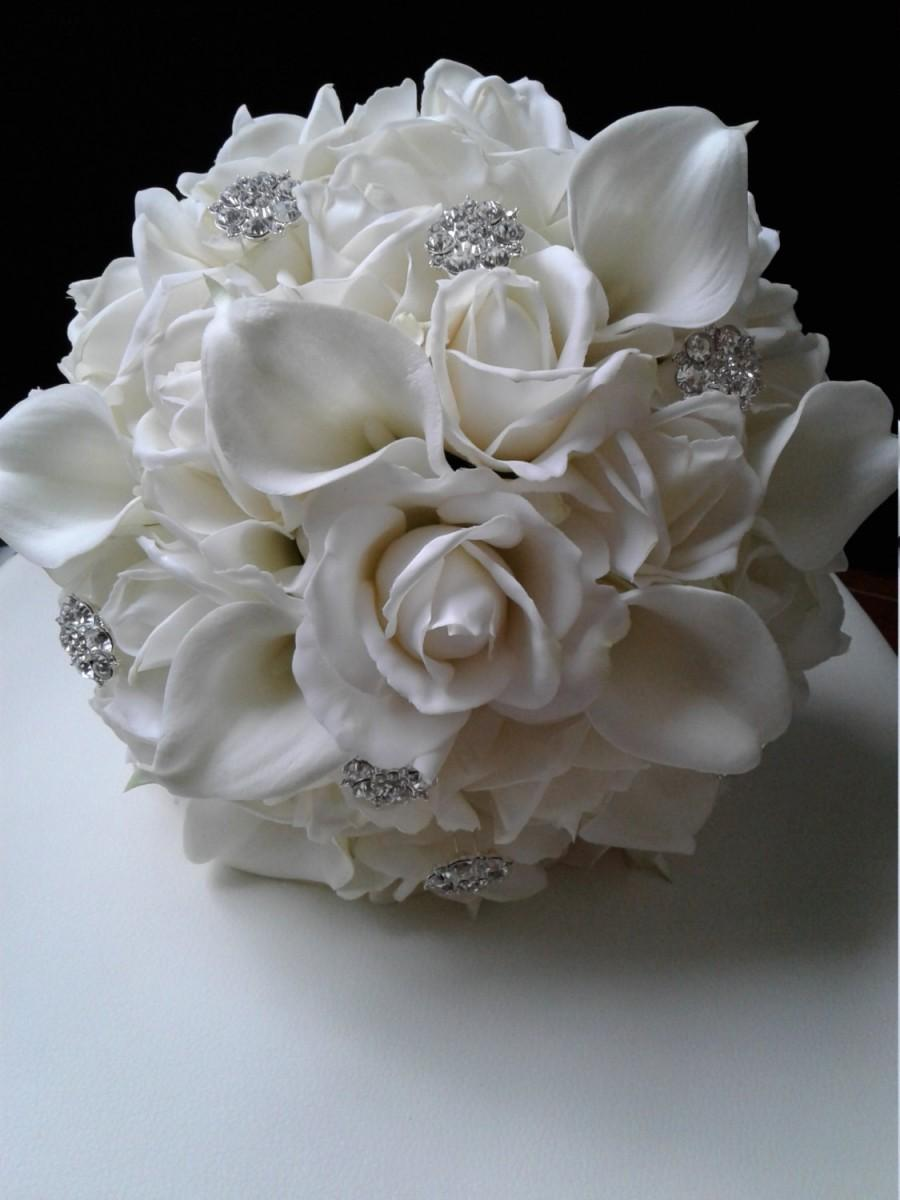 White Real Touch Rose And Calla Lily Wedding Bouquet White Bridal