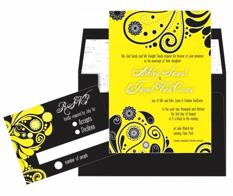 yellow black paisley wedding invitation suite 5x7 invitation