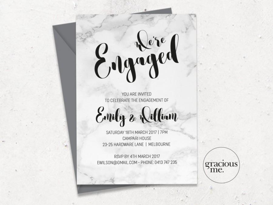 Mariage - Engagement Invitation, Printable, Custom - Marble Calligraphy