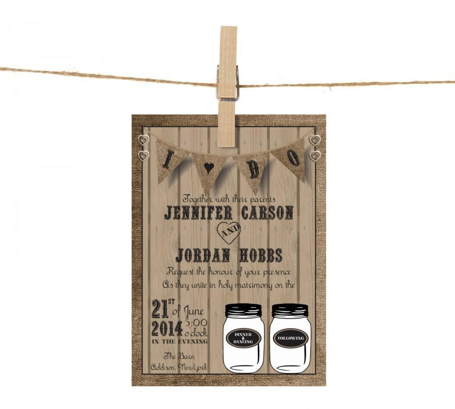 Mariage - Mason Jar Rustic Barnwood Wedding Invitation Suite Banner Bunting: 5x7 Invitation, RSVP Card, Envelopes