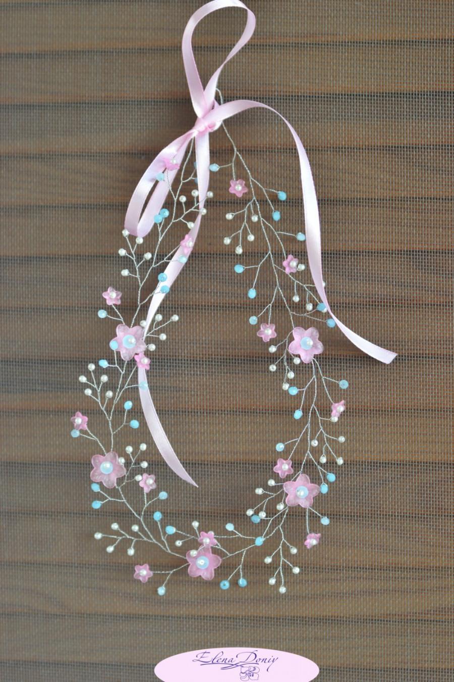 Mariage - Floral crystal hair vine Pink blue crown Bridal hair vine pink blue Pearl hair wreath Pastel flower crown Floral beaded halo Pearl tiara