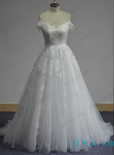 Mariage - Cinderella princess ball gown wedding dress with off shoulder sleeves