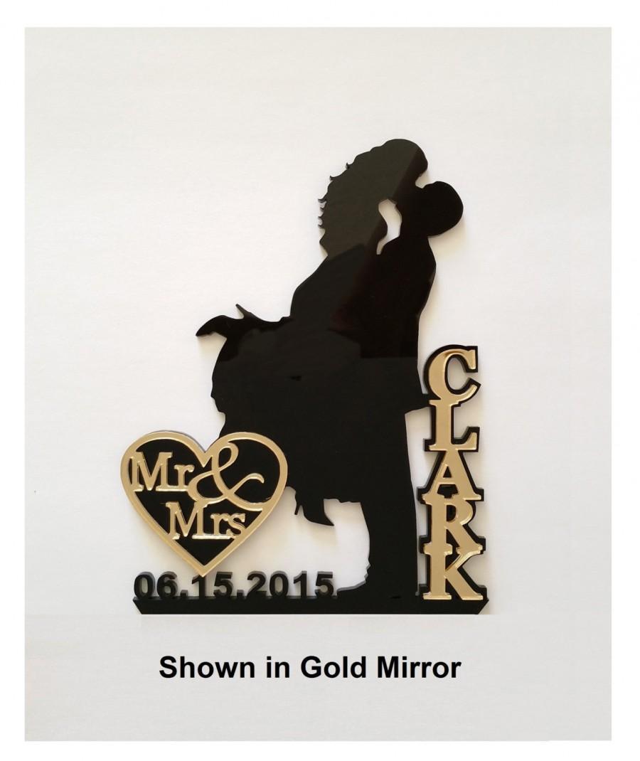 Hochzeit - Bling Glamour Wedding Cake Topper Silhouette  in Mirror, Glam, Bling - FREE Keepsake Display Base - Acrylic Cake Topper [CT18wg]