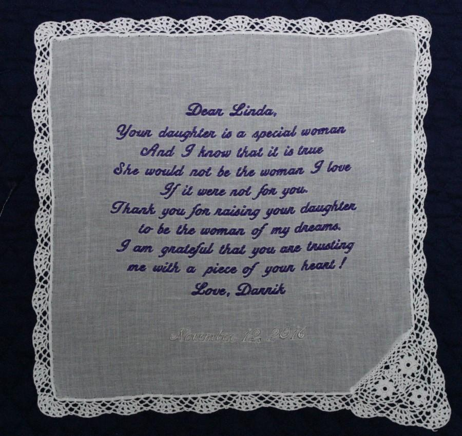 Hochzeit - Mother of the Bride Handkerchief from the groom--Corner design with Wedding date, White with Chrochet Border
